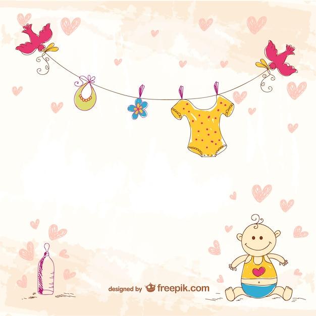 Plantilla con dibujo a mano de bebé | Descargar Vectores gratis