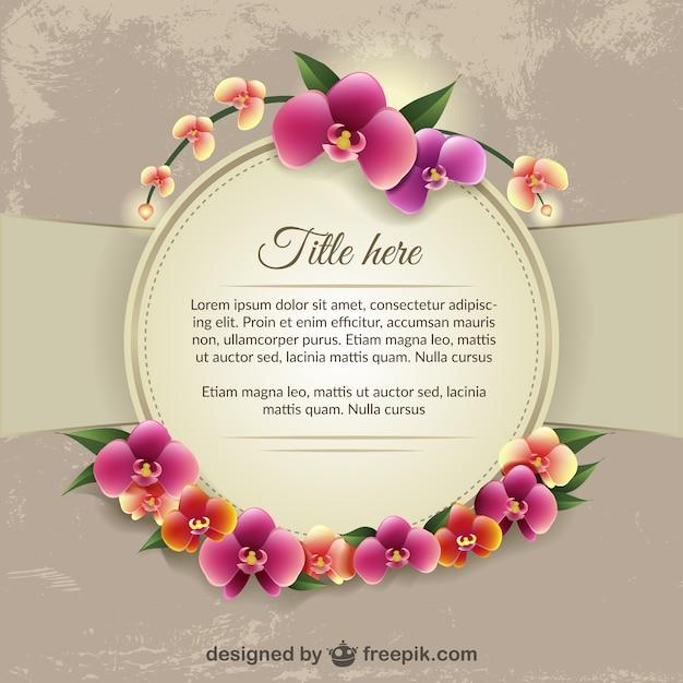 Plantilla con orquídeas de colores | Descargar Vectores gratis