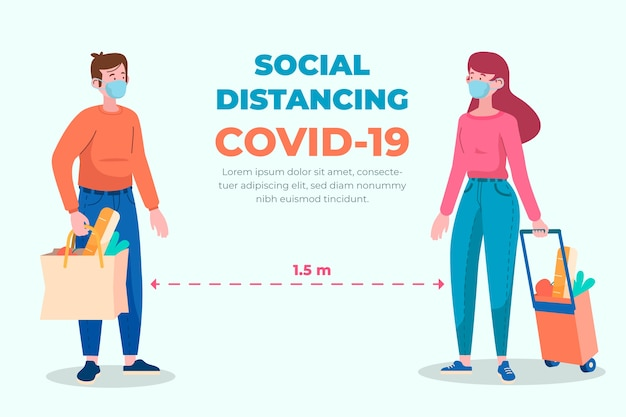 Plantilla de concepto de distanciamiento social vector gratuito