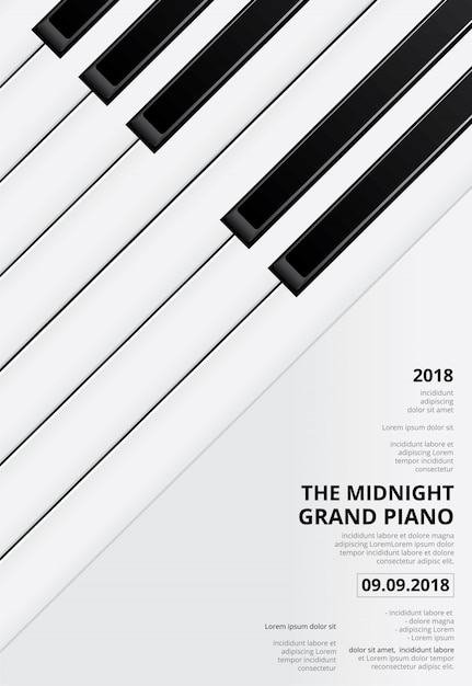 Plantilla de concierto de póster de piano de cola musical Vector Premium