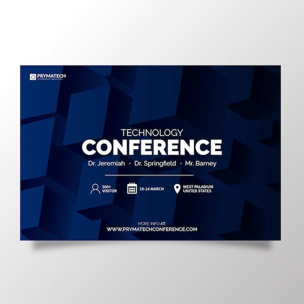 Plantilla de conferencia de tecnología moderna vector gratuito