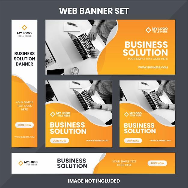 Plantilla de conjunto de anuncios de banner web moderno Vector Premium
