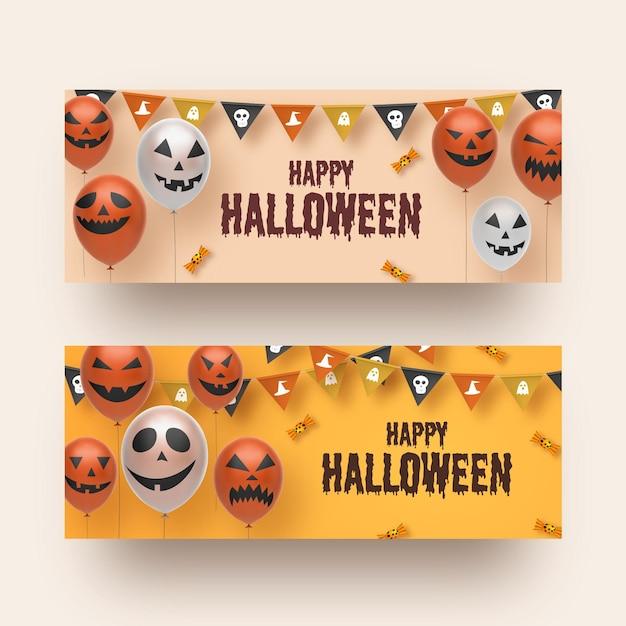 Plantilla de conjunto de banner de halloween vector gratuito