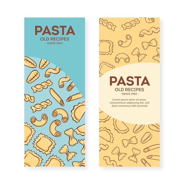 Plantilla de conjunto de banner de restaurante de pasta vector gratuito