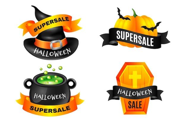 Plantilla de conjunto de etiquetas de venta de halloween vector gratuito