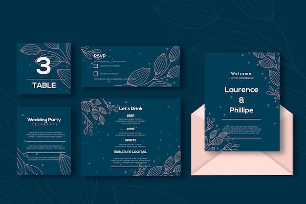 Plantilla de conjunto de papelería de boda vector gratuito