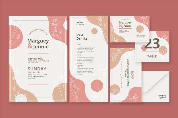 Plantilla de conjunto de papelería de boda Vector Premium
