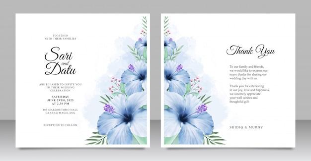 Plantilla de conjunto de tarjeta de invitación de boda con hermosa acuarela floral Vector Premium