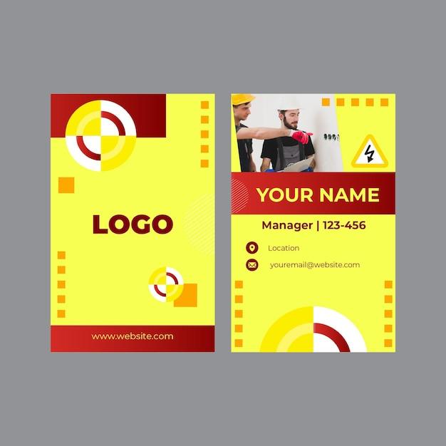 Plantilla de conjunto de tarjeta de visita vertical de electricista Vector Premium