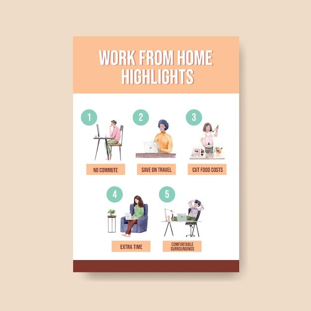 Plantilla de consejos de información cuando las personas trabajan desde casa. ilustración de vector de acuarela de concepto de oficina en casa vector gratuito