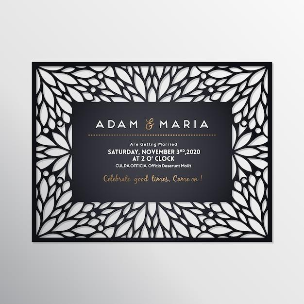 Plantilla de corte por láser de tarjeta de boda vector gratuito