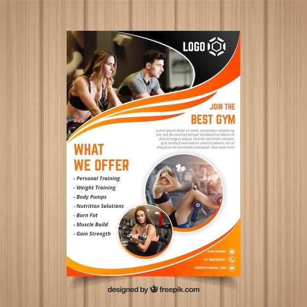 Plantilla de cover de gimnasio con imagen vector gratuito