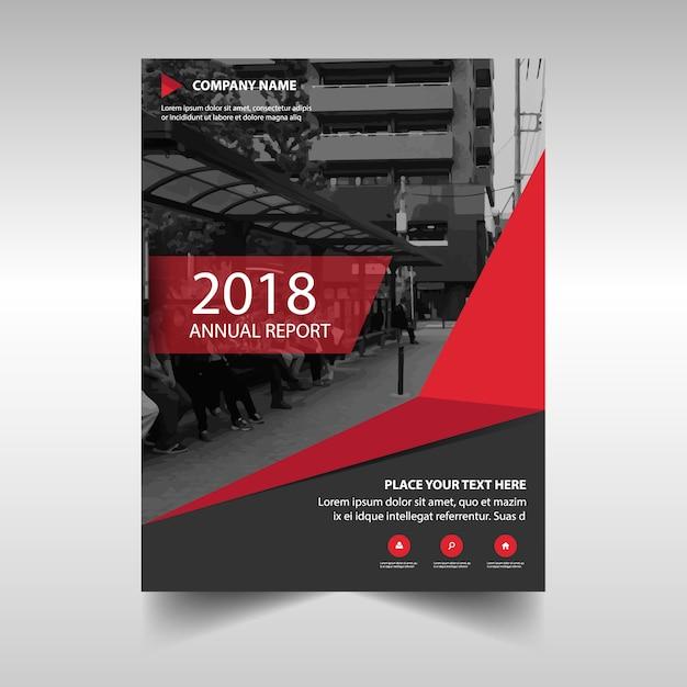 Plantilla creativa de cubierta de informe anual rojo Vector Gratis