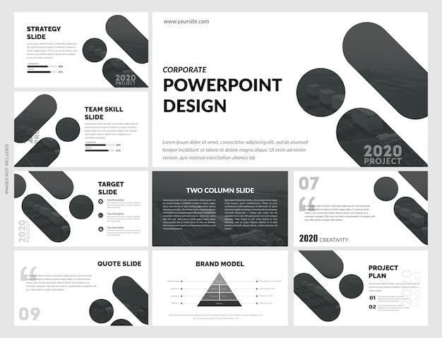 Plantilla creativa de diapositivas negras Vector Premium