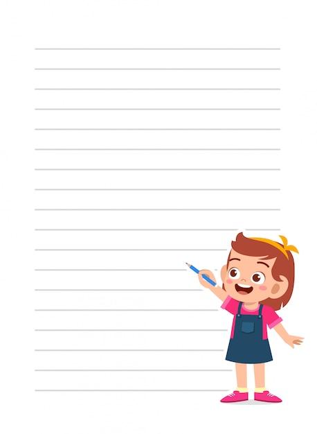 Plantilla de cuaderno feliz niña niño lindo Vector Premium