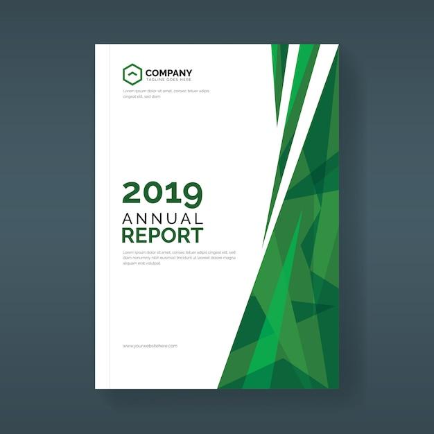 Plantilla de cubierta de informe anual con formas geométricas abstractas verdes Vector Premium