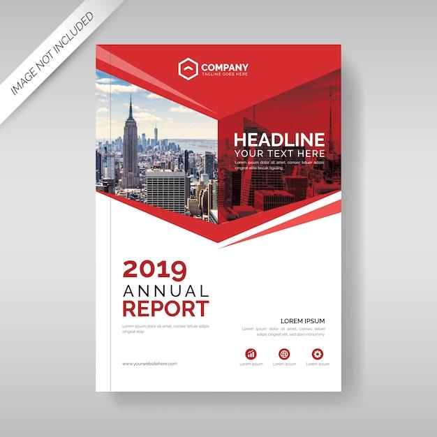 Plantilla de cubierta de informe anual con formas geométricas rojas Vector Premium