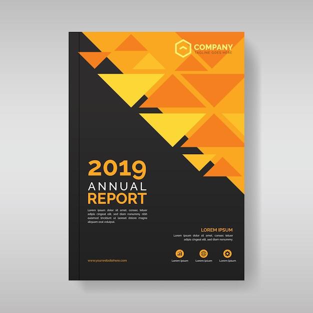 Plantilla de cubierta de informe anual con formas geométricas triangulares Vector Premium