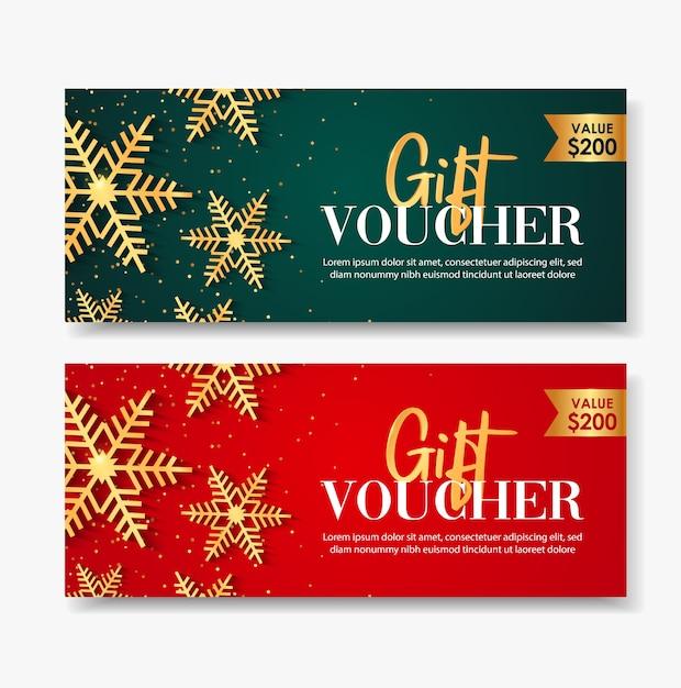 Plantilla de cupón de regalo feliz navidad con copos de nieve de oro. Vector Premium