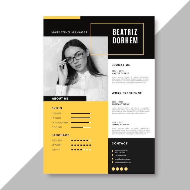 Plantilla de currículum creativo con foto vector gratuito