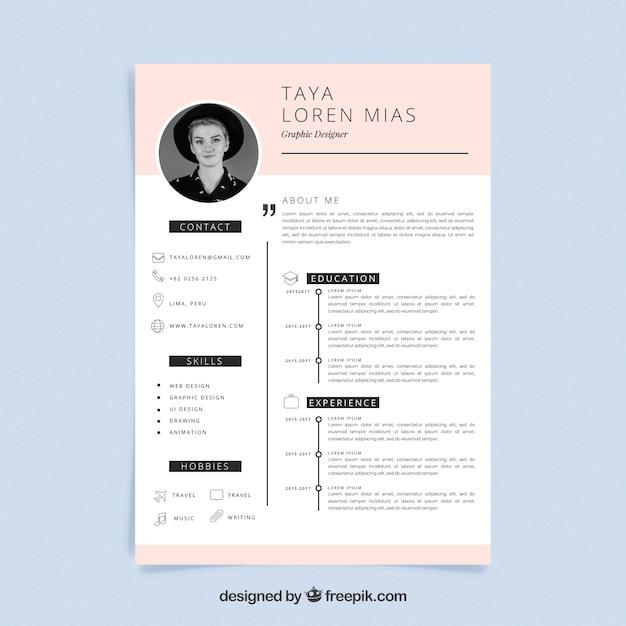 Plantilla de curriculum con estilo minimalista vector gratuito