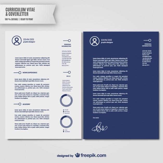 Plantilla currículum vitae y carta de presentación vector gratuito