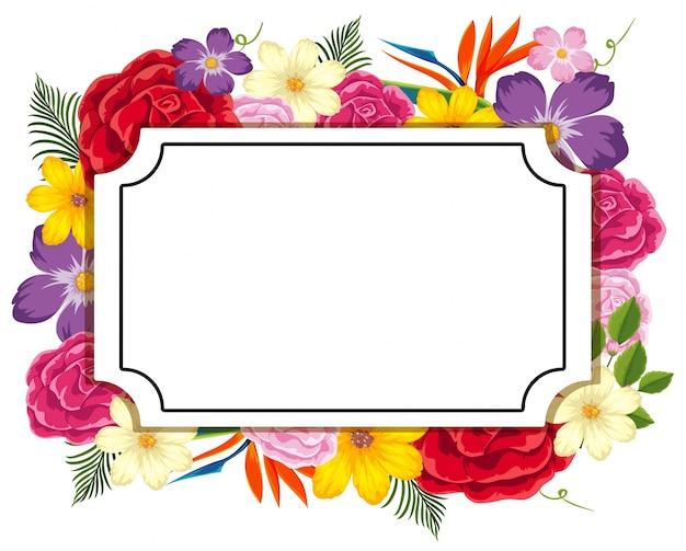 Plantilla de borde con flores de colores   Descargar Vectores Premium
