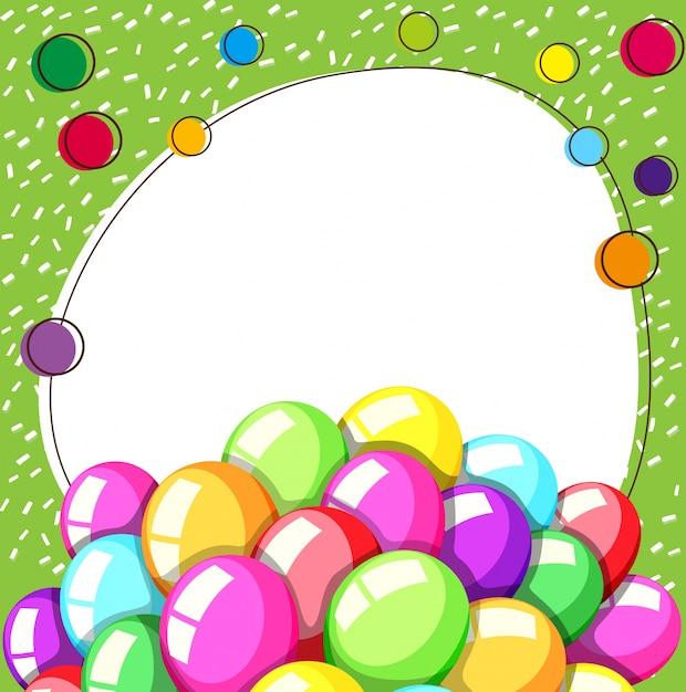 Plantilla de borde con globos de colores   Descargar Vectores gratis