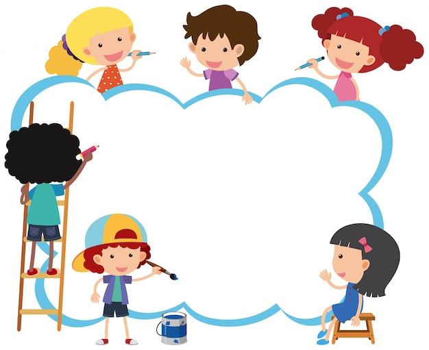 Plantilla de borde con niños felices pintando | Descargar Vectores ...