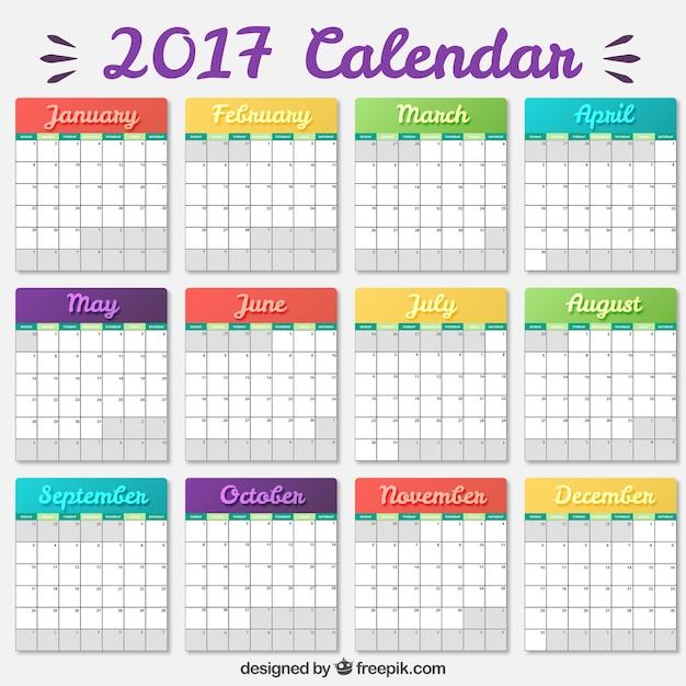 Plantilla de calendario 2017 con colores | Descargar Vectores gratis