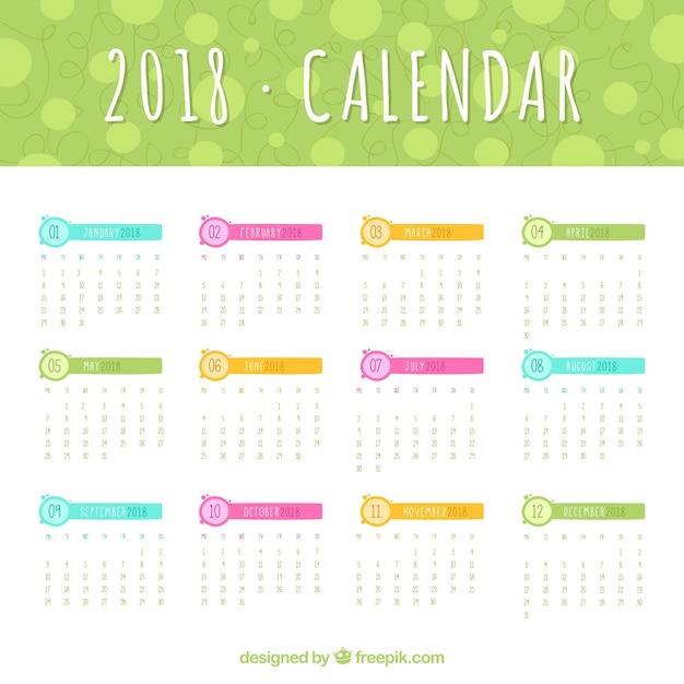 Plantilla de calendario de 2018 con elementos de colores | Descargar ...