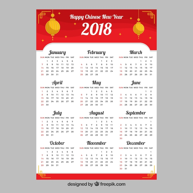 Plantilla de calendario de año nuevo chino | Descargar Vectores gratis
