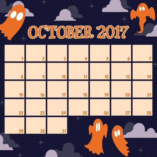 Calendario Halloween | Fotos y Vectores gratis