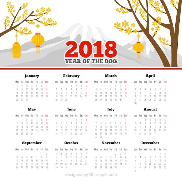 Plantilla de calendario elegante blanco para año nuevo chino ...