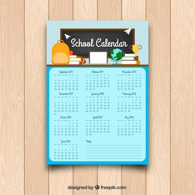 Plantilla de calendario escolar en diseño plano | Descargar Vectores ...