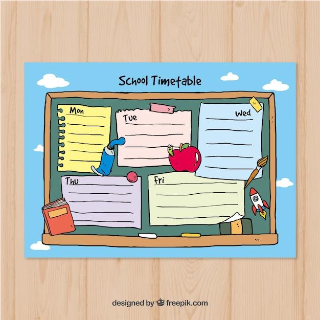 Plantilla de calendario escolar sobre cielo azul | Descargar ...