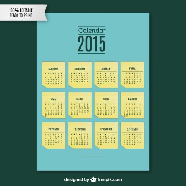 Plantilla de calendario para 2015 | Descargar Vectores gratis