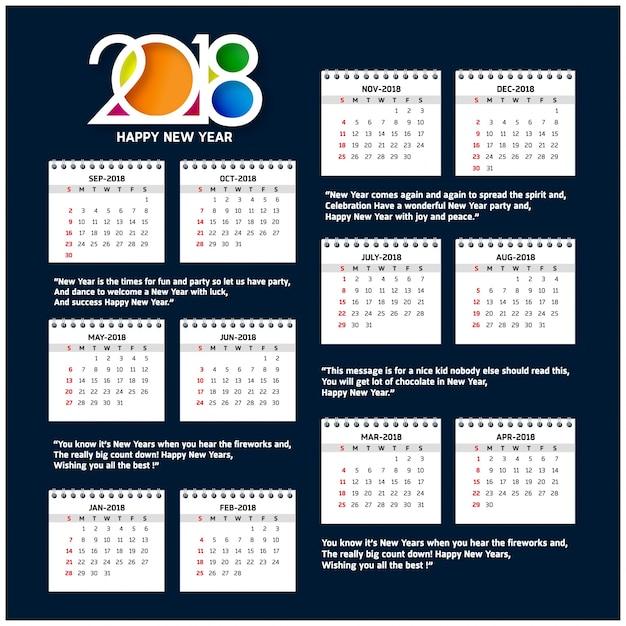 Plantilla de calendario para 2018 | Descargar Vectores gratis