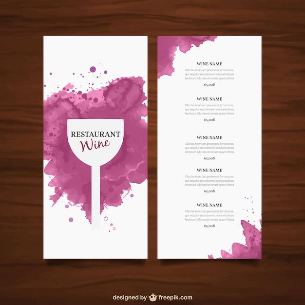 Plantilla de carta de vinos | Descargar Vectores gratis