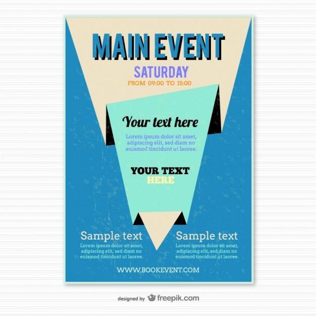 Plantilla de cartel azul estilo origami   Descargar Vectores gratis