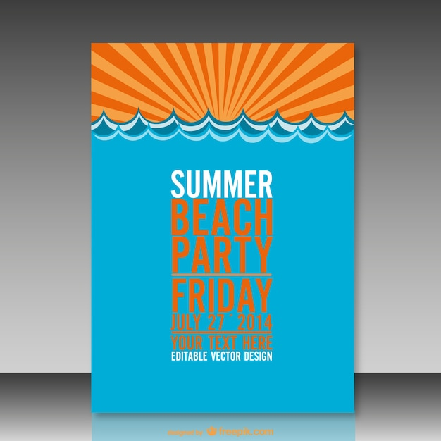 Plantilla de cartel de fiesta de verano   Descargar Vectores gratis