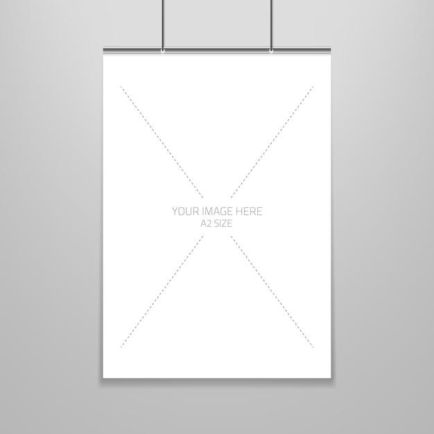 Plantilla de cartel de una hoja de papel en blanco en marco ...