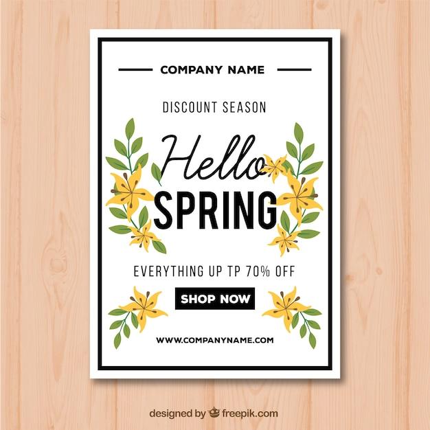 Plantilla de cartel para rebajas de primavera con flores y hojas ...