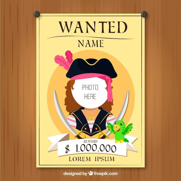 Plantilla de cartel se busca con diseño de pirata | Descargar ...
