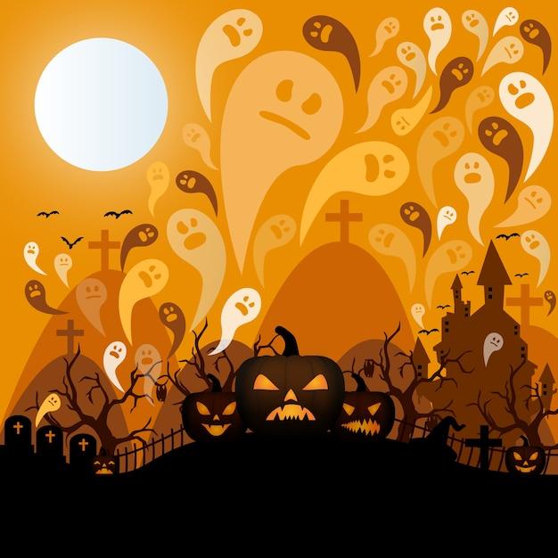 Plantilla de cementerio para Halloween Vector Gratis