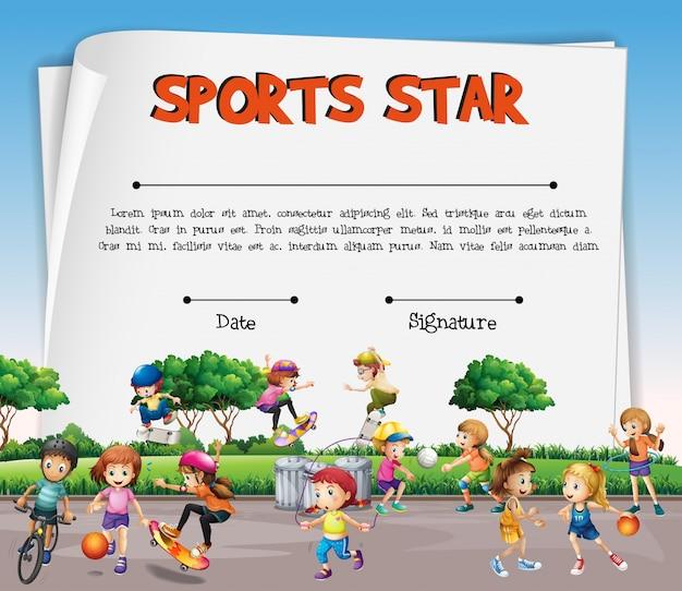 Plantilla de certificado de estrella de deportes con niños jugando ...