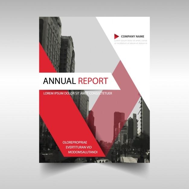 Plantilla de cubierta de informe anual rojo Vector Gratis