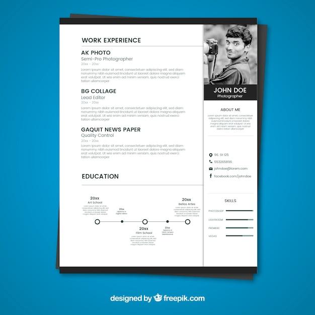 Plantilla de curriculum blanco y negro | Descargar Vectores gratis