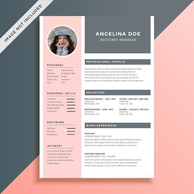 Plantilla de currículum femenino y elegante | Descargar Vectores Premium