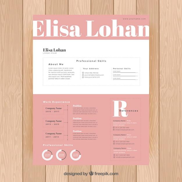 plantilla de curriculum rosa y blanco
